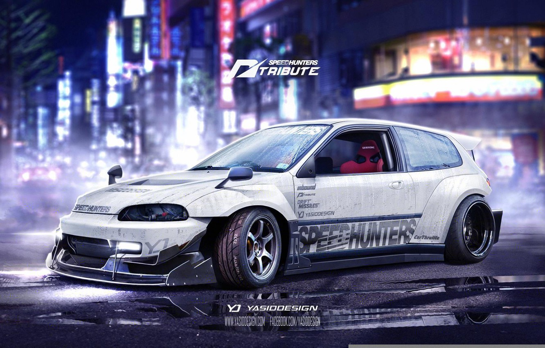 Photo wallpaper Honda, Civic, Speedhunters, tribute, yasiddesign, EG6