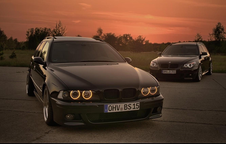 Photo wallpaper Sunset, BMW, BMW, Lights, E39, E61
