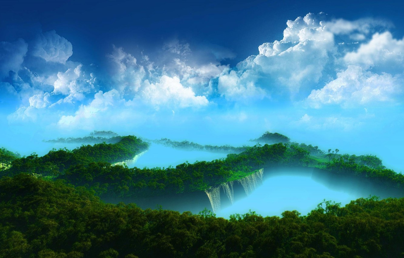 Photo wallpaper Greens, The sky, Water, Nature, Clouds, Forest, Jungle, Exotic, Blue color, Vodopady