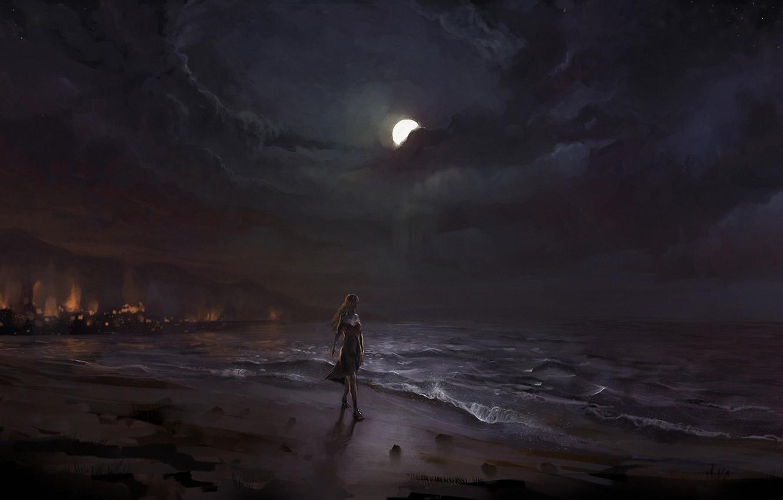 Photo wallpaper sand, sea, girl, night, the moon, shore, art, surf, walk