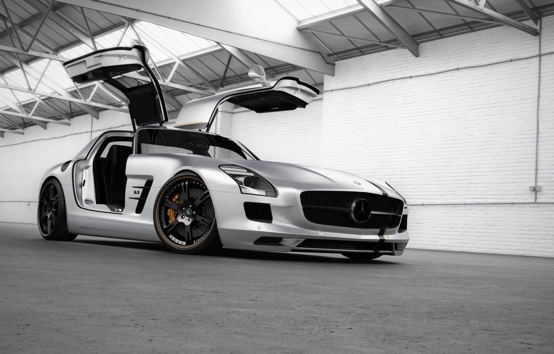 Photo wallpaper tuning, Mercedes-Benz, door, silver, hangar, supercar, Mercedes, AMG, widescreen Wallpaper, SLS, tuning, Wheelsandmore, the front, …