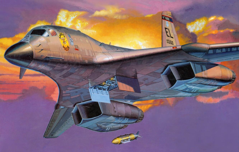 Photo wallpaper the sky, aviation, the plane, bomb, B-1B