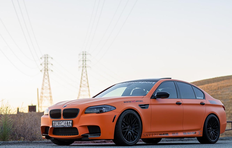 Photo wallpaper the sky, bmw, BMW, front view, f10, Mat orange, orange matte