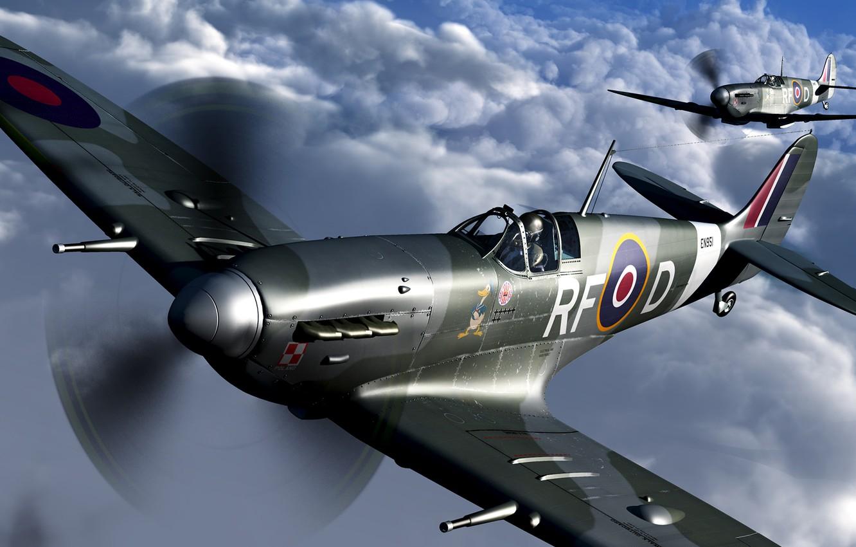 Photo wallpaper England, fighter, Spitfire Mk.Vc