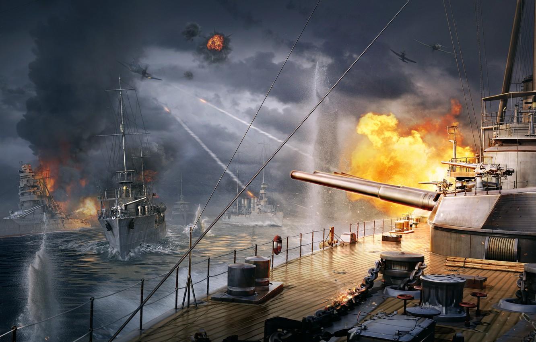 Photo wallpaper The sky, Water, Clouds, Wave, Smoke, Fire, Ship, Iron, Trunk, Ships, Flame, Shot, Wargaming Net, …