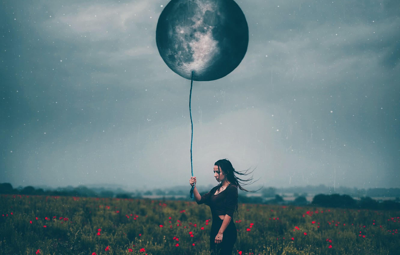 Photo wallpaper girl, the moon, ball, Maki, stars, Amy Spanos