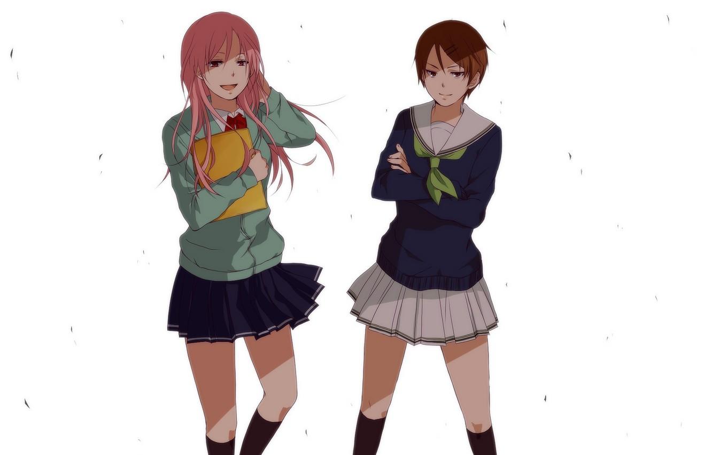 Photo wallpaper girls, anime, art, Schoolgirls, Kuroko From Basket, Momoi Satsuki, Aida Riko, Kuroko's Basketball