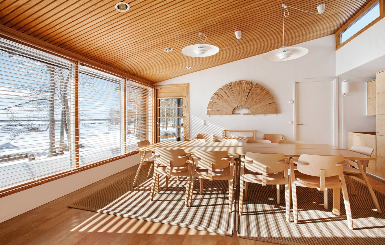 Photo wallpaper Winter, Snow, Table, Interior, Chairs, Fan