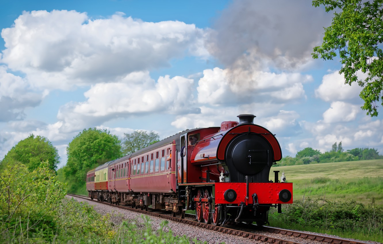 Photo wallpaper nature, England, train, railroad, England, Mid-Norfolk Railway