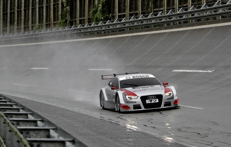 Photo wallpaper rain, Audi, race, silver, track, Tits, race, wet asphalt, radiator, trek, DTM, Motorsport, motorsport, audi …