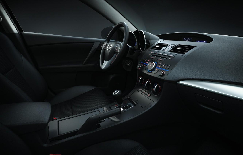 Photo wallpaper auto, style, interior, black, salon, mazda 3
