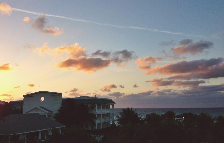 Photo wallpaper house, sunset, water, clouds, island, Jamaica, North America, Caribbean Sea