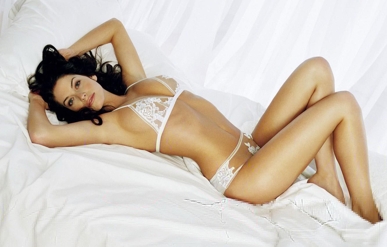 Photo wallpaper model, brunette, linen, Kim Smith