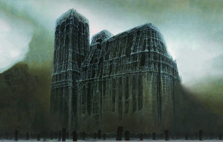 Photo wallpaper surrealism, the darkness, cemetery, Cathedral, plate, Zdzisław Beksiński, Zdislav Beksinski, postapocalyptic, tombstone, from the bones