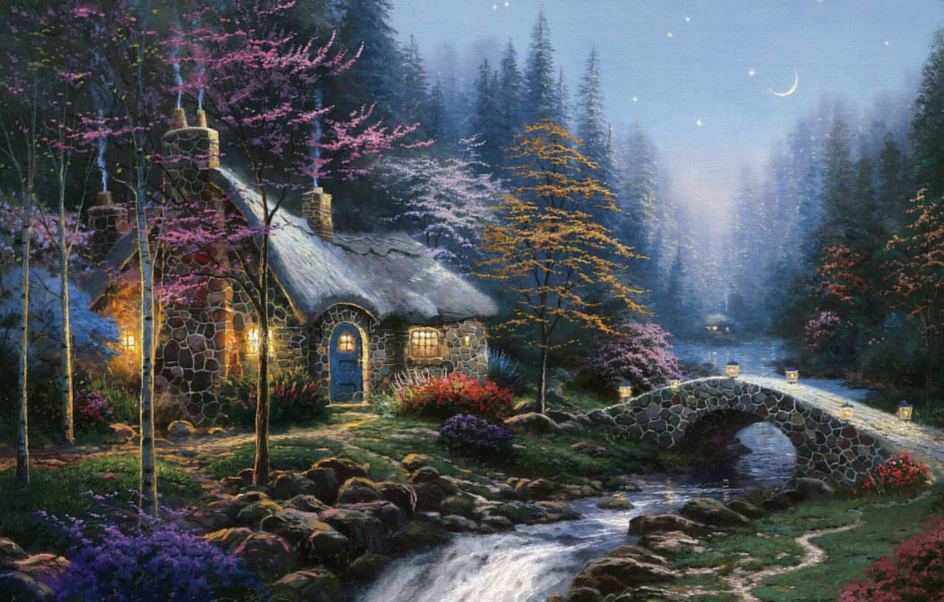 Photo wallpaper autumn, forest, river, the moon, stars, ate, lights, twilight, painting, the bridge, cottage, birch, Thomas …