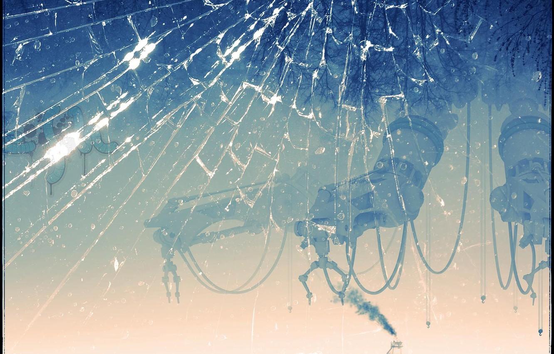 Photo wallpaper cracked, Glass, steamer