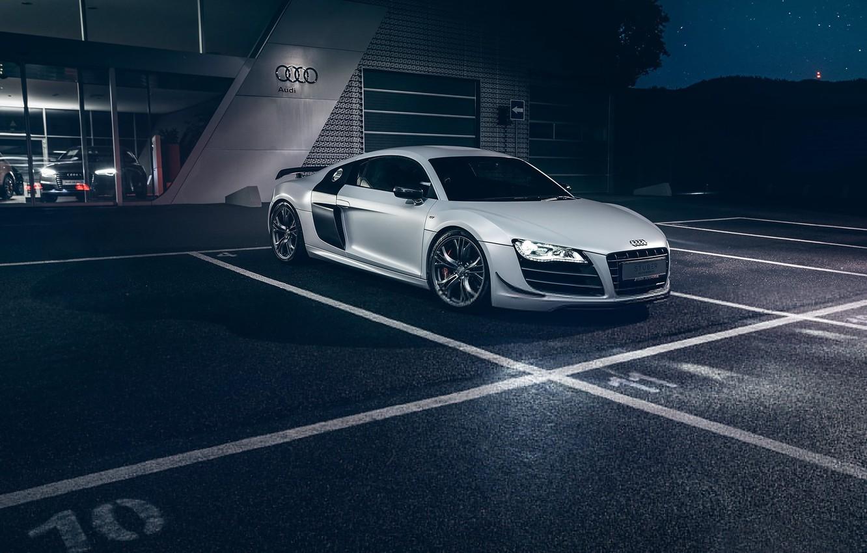 Photo wallpaper Audi, Dark, Front, Night, White, Supercar, Automotive