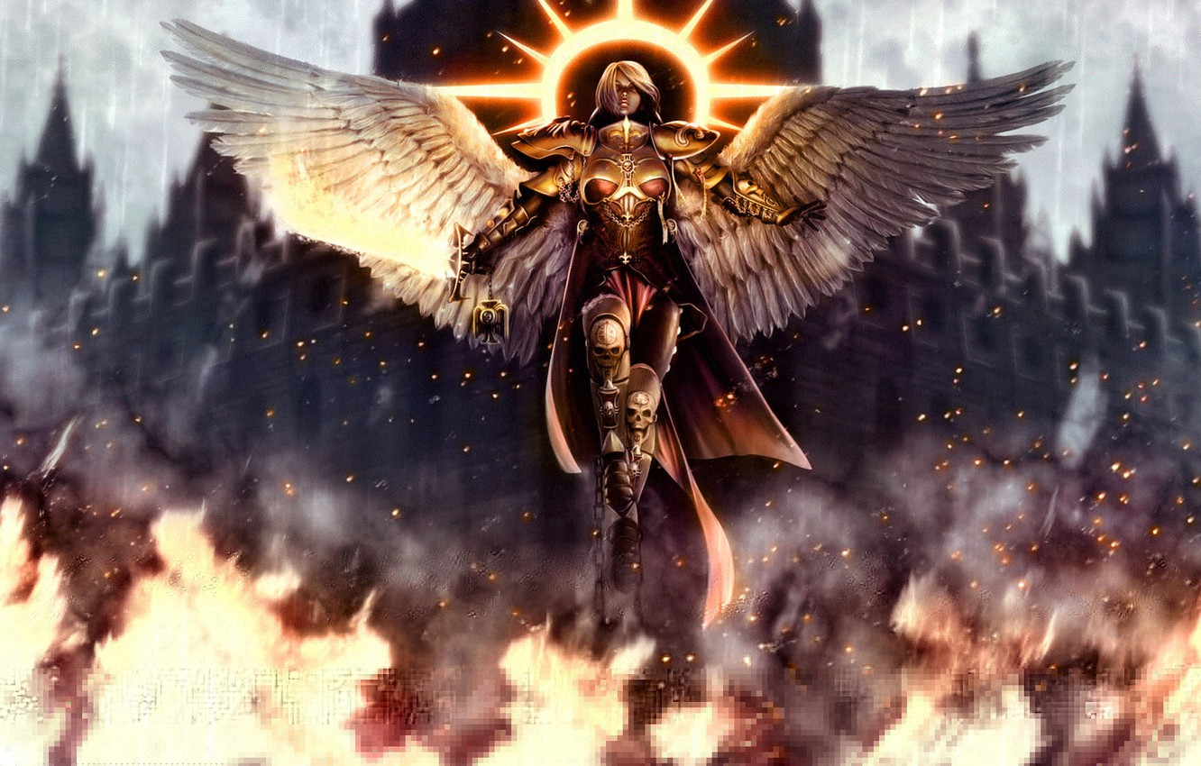 Photo wallpaper girl, fantasy, fire, the game, wings, angel, sword, armor, Cathedral, armor, chain, Warhammer 40000, halo, …