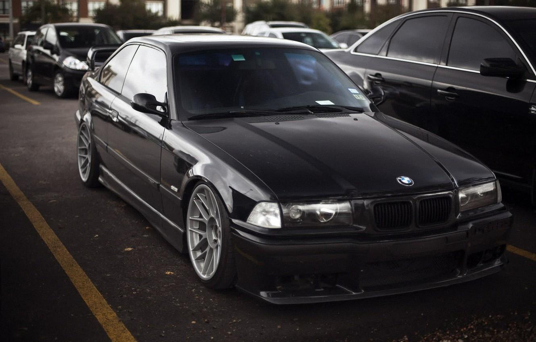 Photo wallpaper BMW, black, bbs, low, 3 series, E36