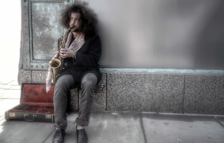 Обои saxophone, музыка, street. Музыка foto 16