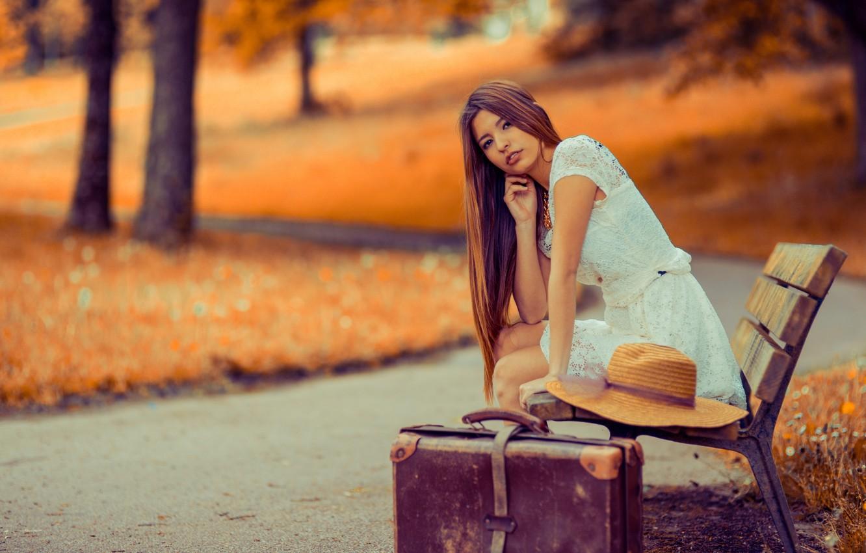 Photo wallpaper girl, Park, suitcase