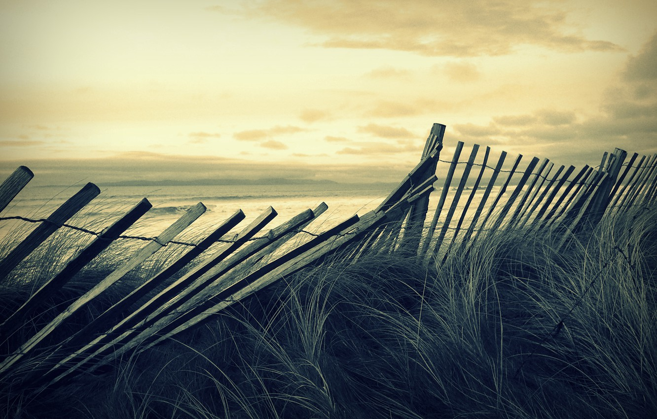 Photo wallpaper sea, wave, beach, the sky, grass, landscape, storm, mood, the wind, the fence, the fence