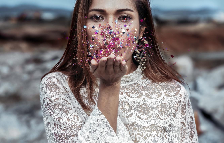 Photo wallpaper girl, color, dust