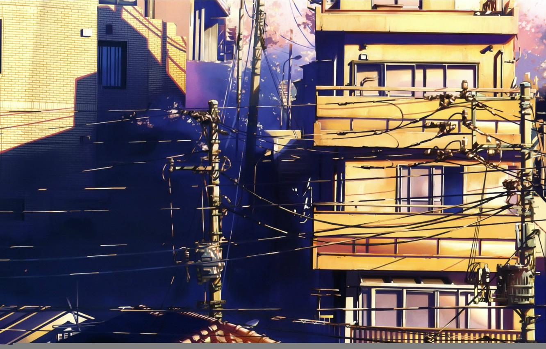 Photo wallpaper summer, street, posts, wire, Windows, home, 5 centimeters per second, art, makoto shinkai, 5 centimetrs …