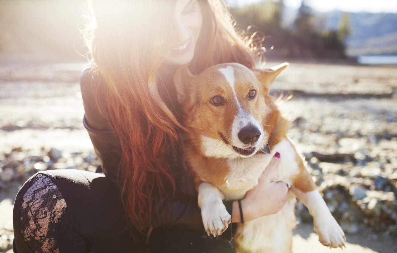 Photo wallpaper girl, dog, red, smiling