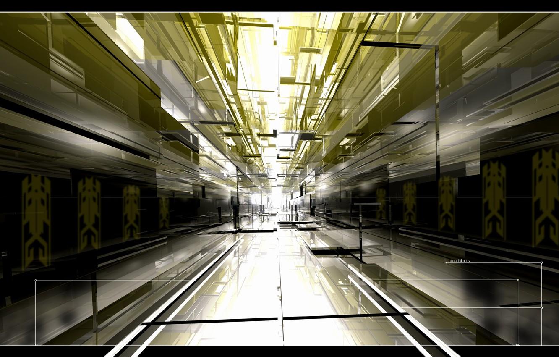 Photo wallpaper light, graphics, corridor