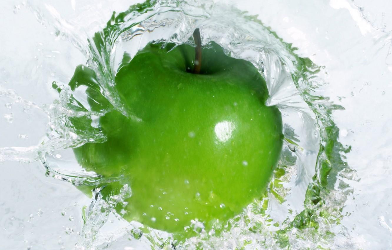 Photo wallpaper water, green, green, Apple