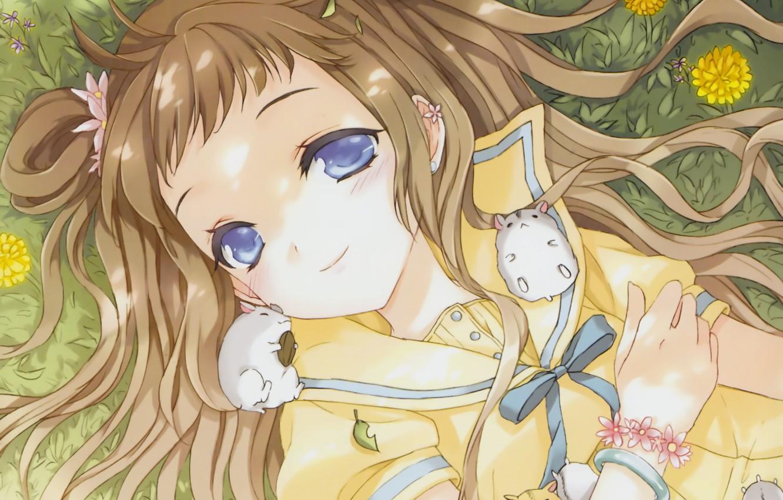 Photo wallpaper grass, flowers, anime, art, girl, bracelet, dandelions, bow, cuteg, hamsters