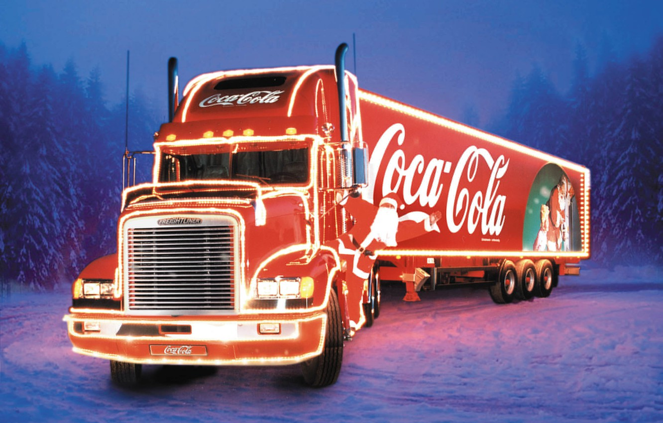Photo wallpaper new year, truck, coca cola, tractor, Freightliner, the truck