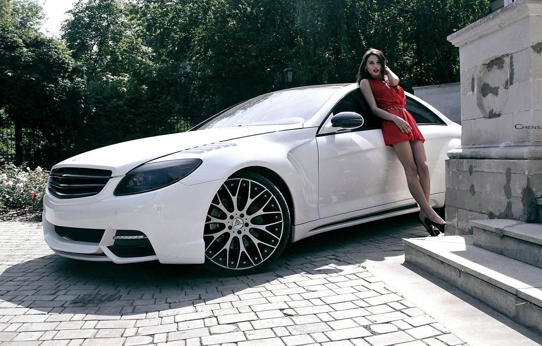 Photo wallpaper girl, coupe, Mercedes-Benz, Mercedes, CL-Class, C216