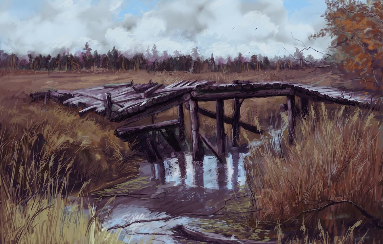 Photo wallpaper autumn, bridge, Chernobyl, river, Pripyat, area, Stalker 2