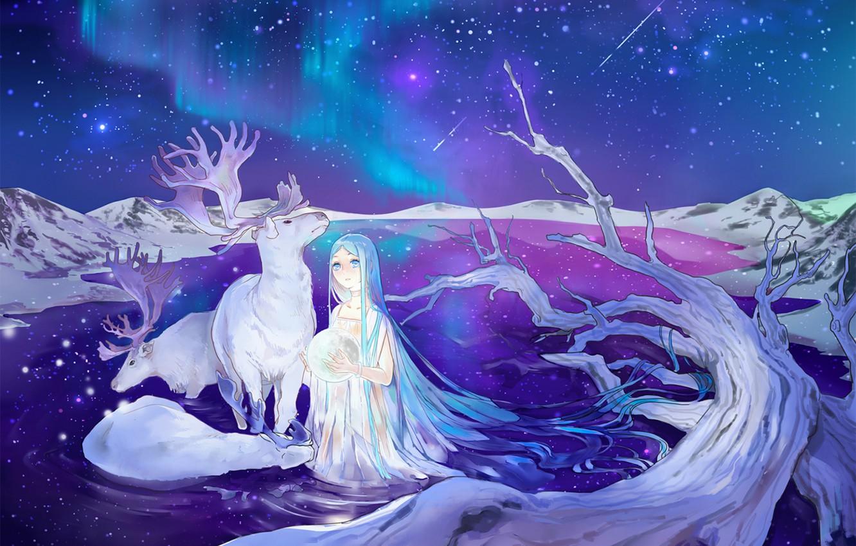 Photo wallpaper stars, night, lake, Northern lights, deer, Hatsune Miku, Vocaloid, blue hair