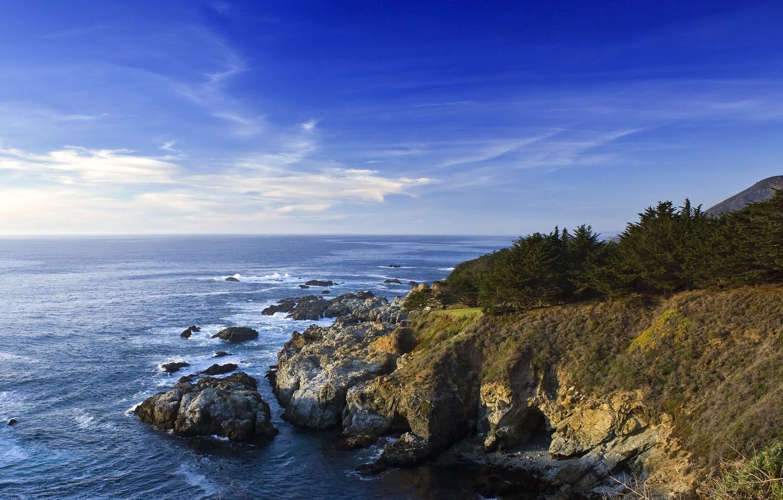 Photo wallpaper sea, the sky, water, rocks, shore, CA