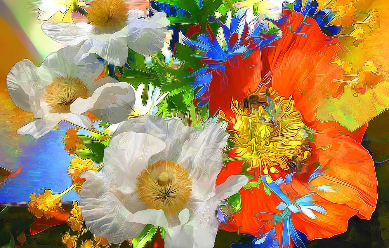 Photo wallpaper line, flowers, rendering, paint, Maki, petals
