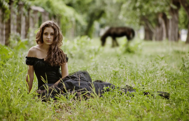 Photo wallpaper grass, girl, trees, nature, horse, brunette, sitting, posing, in a black dress