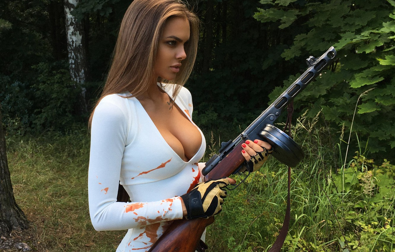 Photo wallpaper chest, girl, weapons, model, beauty, Machine gun, The mavri, Viki Odintcova, Victoria Odintsova
