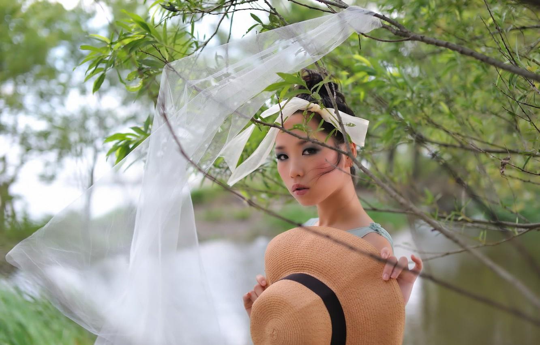 Photo wallpaper girl, nature, hat