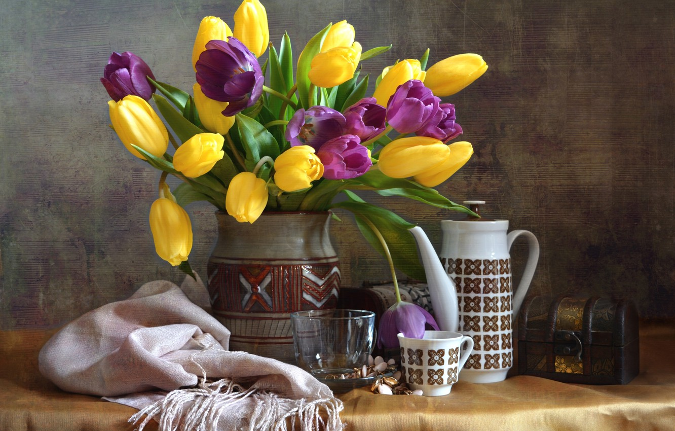 Photo wallpaper bouquet, tulips, dishes, still life, shawl