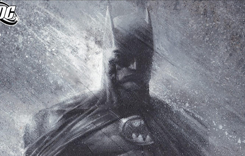 Photo wallpaper rain, batman, figure, Batman, mask, comic