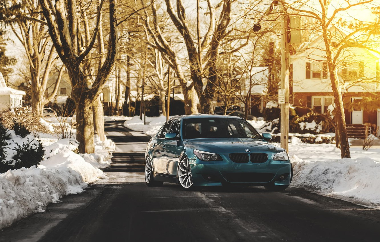 Photo wallpaper green, bmw, blue, tuning, e60, stance, 528i
