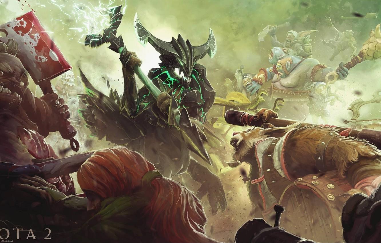Wallpaper art, battle, Dota 2, Sniper, Drow Ranger, Meepo