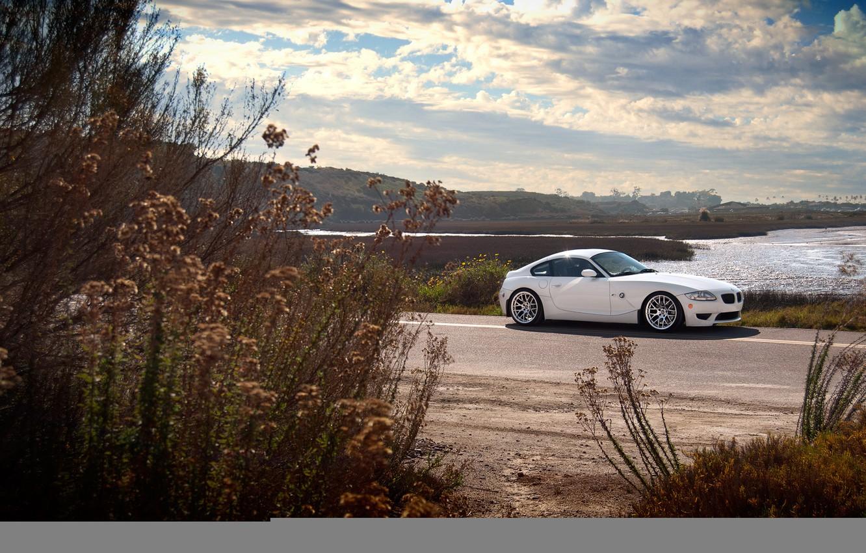 Photo wallpaper BMW, BMW, white, white, the bushes, Z4M