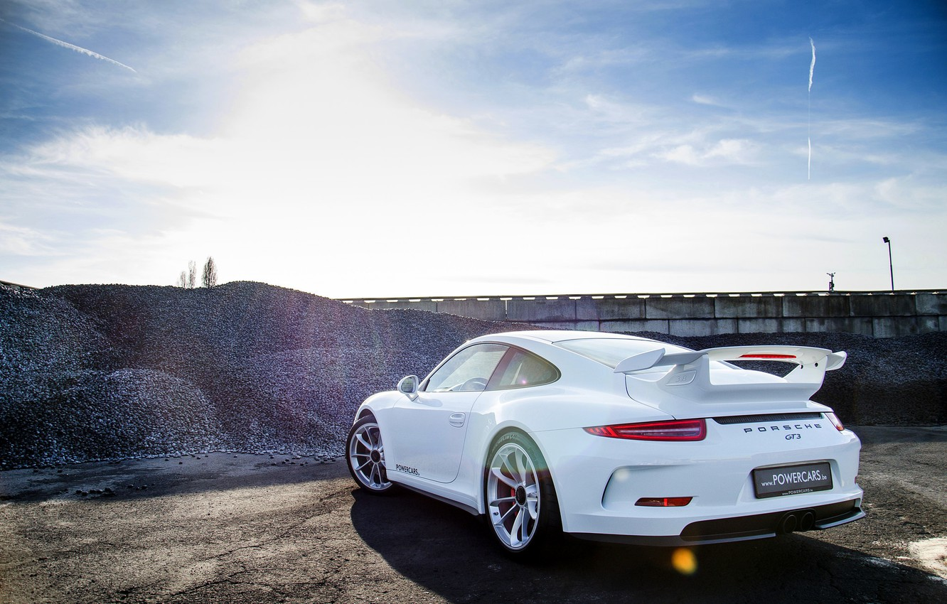 Photo wallpaper Porsche, white, Porsche, GT3, 991, rearside