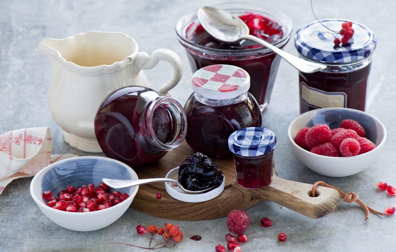 Photo wallpaper berries, raspberry, jars, jam, garnet, jam, Anna Verdina