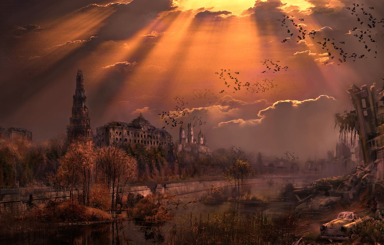 Photo wallpaper sunset, river, the evening, Moscow, the Kremlin, Russia, New Union, The New Union