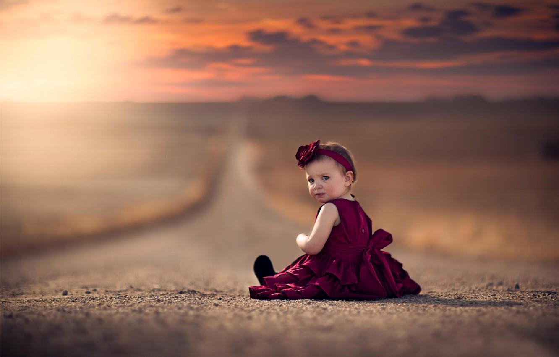 Photo wallpaper road, dress, space, girl, bokeh